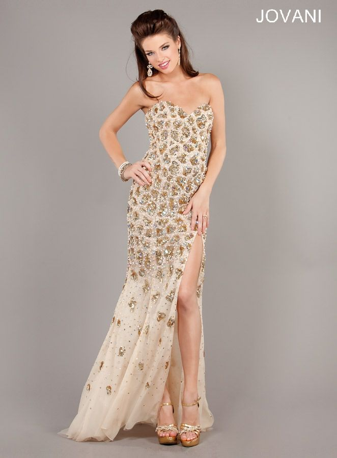 This strapless nude dress by Jovani is perfet for any formal ...