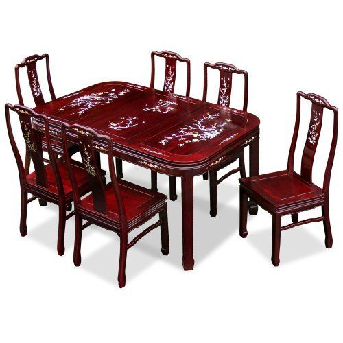 60in Rosewood Dining Table With 6 Chairs Mother Of Pearl Inlay