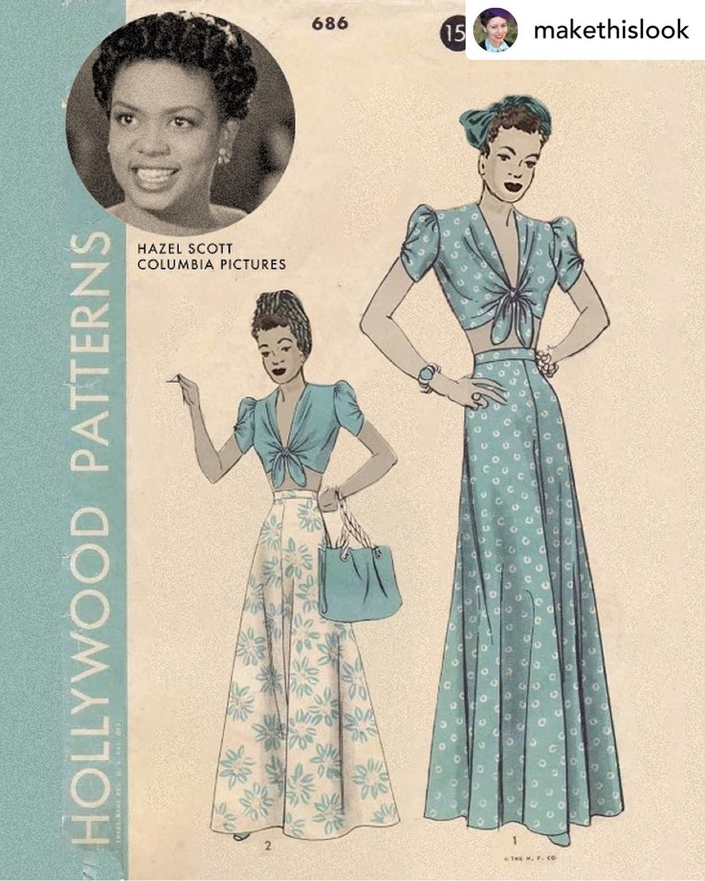 1940s Sewing Pattern Recreated With Black Women This Features Hazel Scott Fashion Illustration Vintage 1940s Sewing Patterns Pattern Fashion