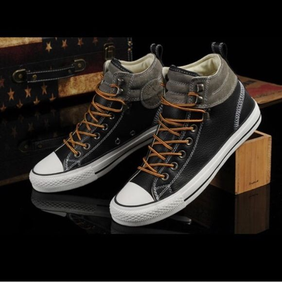 Women's CONVERSE BLACK LEATHER, GREY SUEDE PADDED COLLAR HIGH TOPS CHUCK  TAYLOR ALL STAR SHOES. Converse chuck taylor all star shoes ...