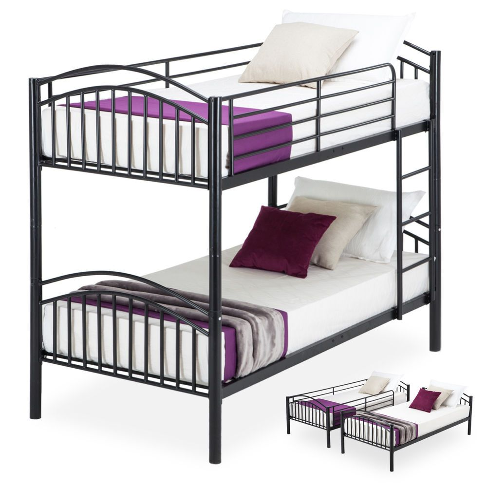 Metal Twin Over Twin Size Bunk Bed Frames Convertible 2 Frames