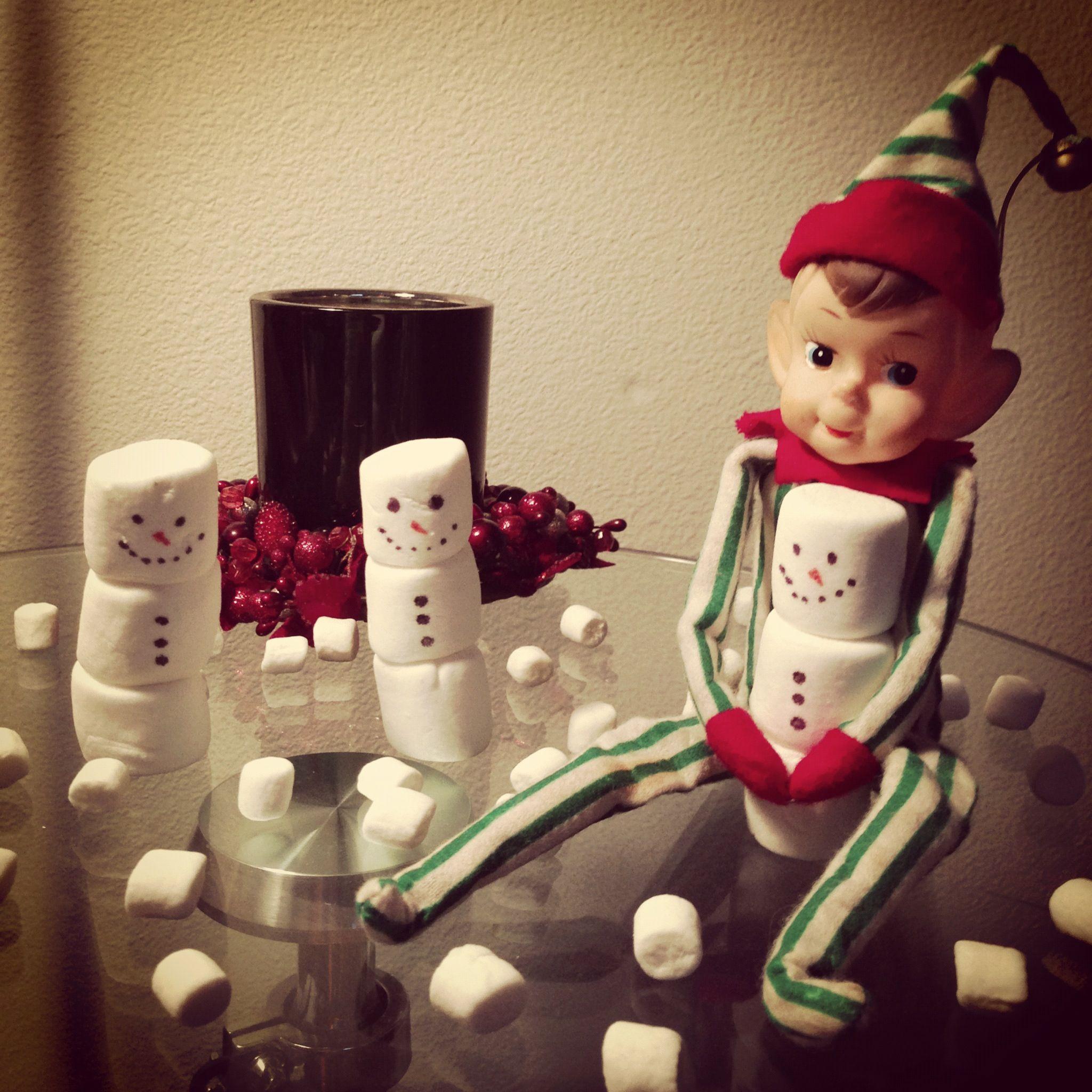 Sammy, our elf, built some snowmen. Elf on a Shelf