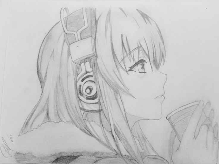 Anime Girl With Headphones Drawing