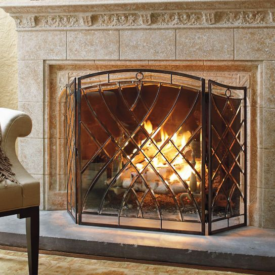 Victoria Beveled Glass Fireplace Screen Glass fireplace screen