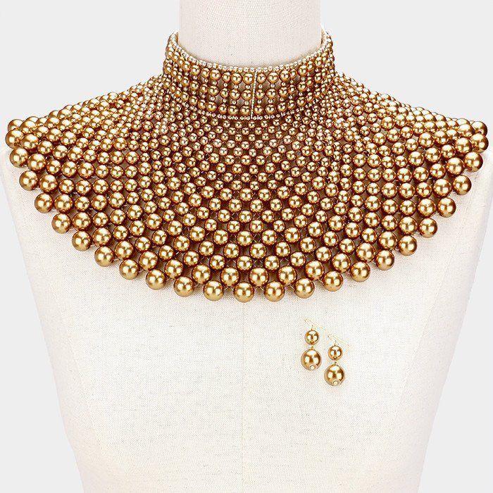 Cleopatra Queen Shoulder Pearl Collar Choker Bib Necklace