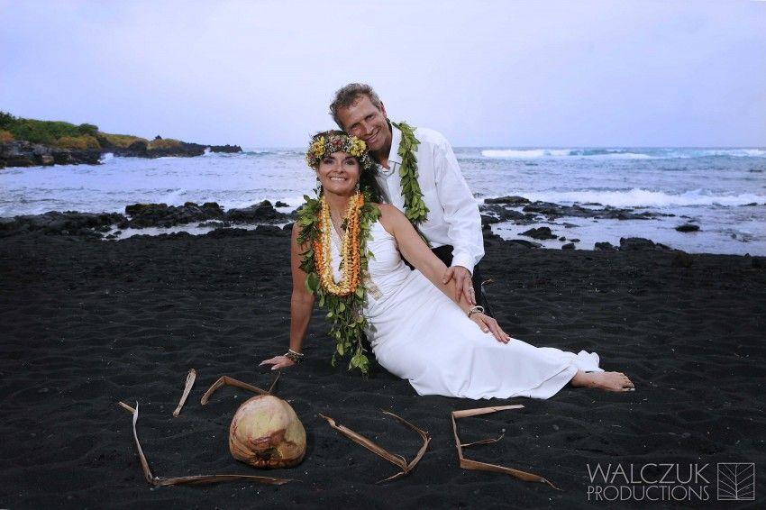 Destination Wedding Hawaii Volcano Punaluu Black Sand Beach