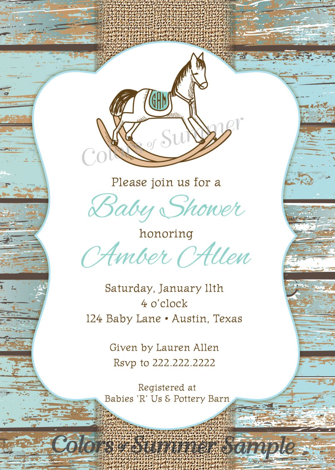 Rocking Horse Baby Shower Invitation, Rustic Invite, White Wash Wood ...
