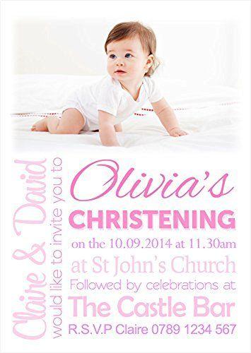 Personalised Photo Girls Christening  Baptism  Naming Day