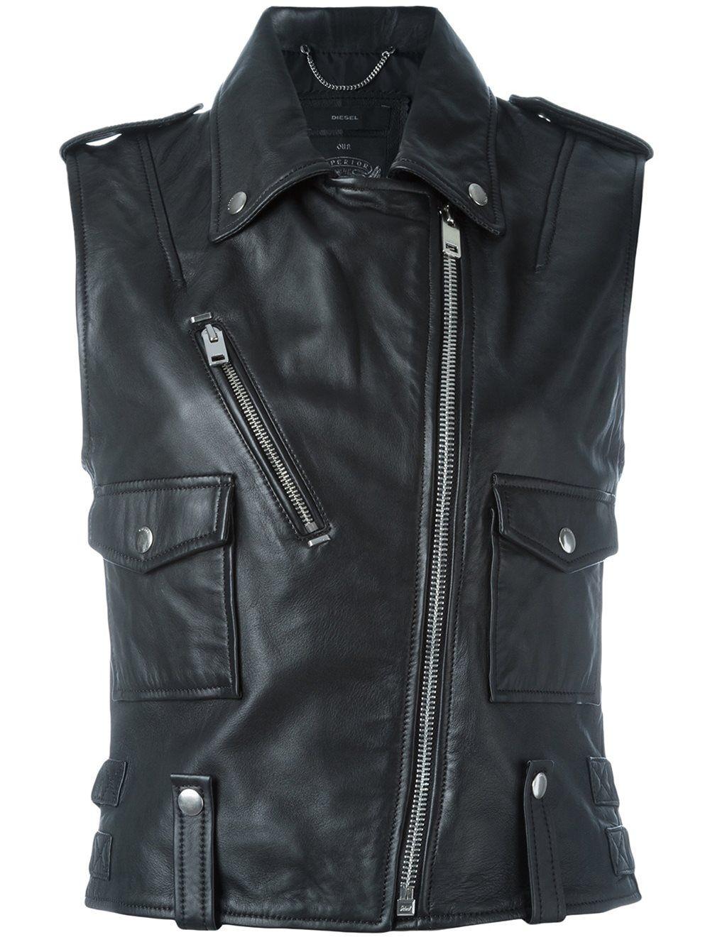 Diesel Leather Sleeveless Biker Jacket Vest Black Vest Designer Leather Jackets Jackets Leather Jackets Women [ 1334 x 1000 Pixel ]