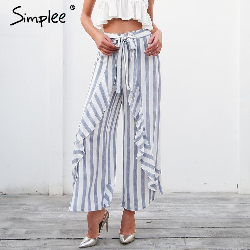 Simplee Stripe ruffle trousers women bottom Sash high waist wide leg pants  casual pants 2018 spring b4614a447c69