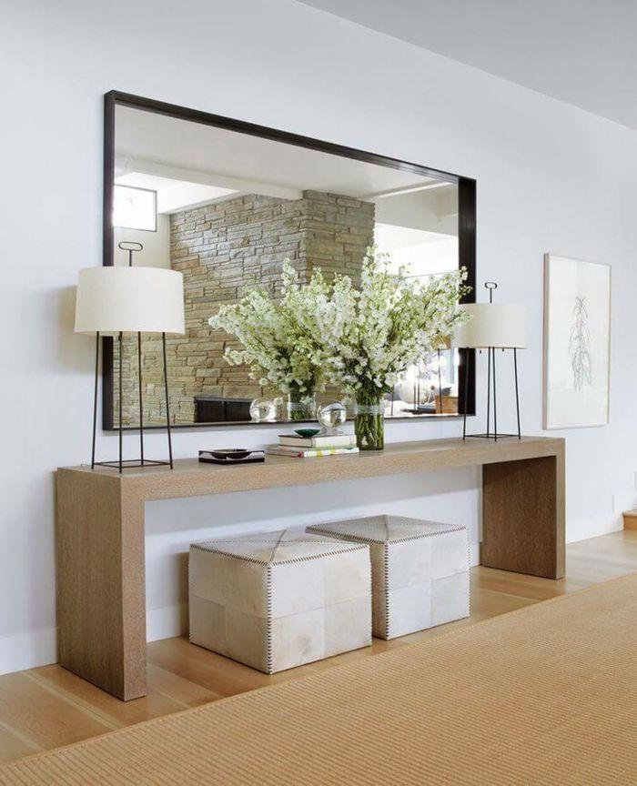 Espejos salon de encanto grande espejo de pared en forma for Espejo rectangular grande