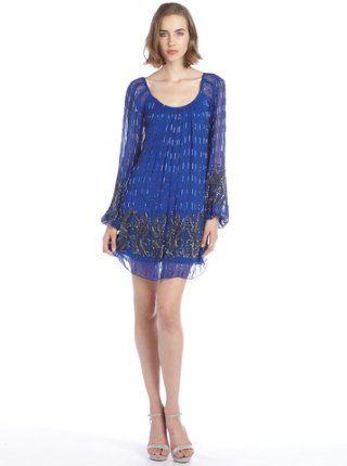 cobalt blue silk blend sequined detail long sleeve dress