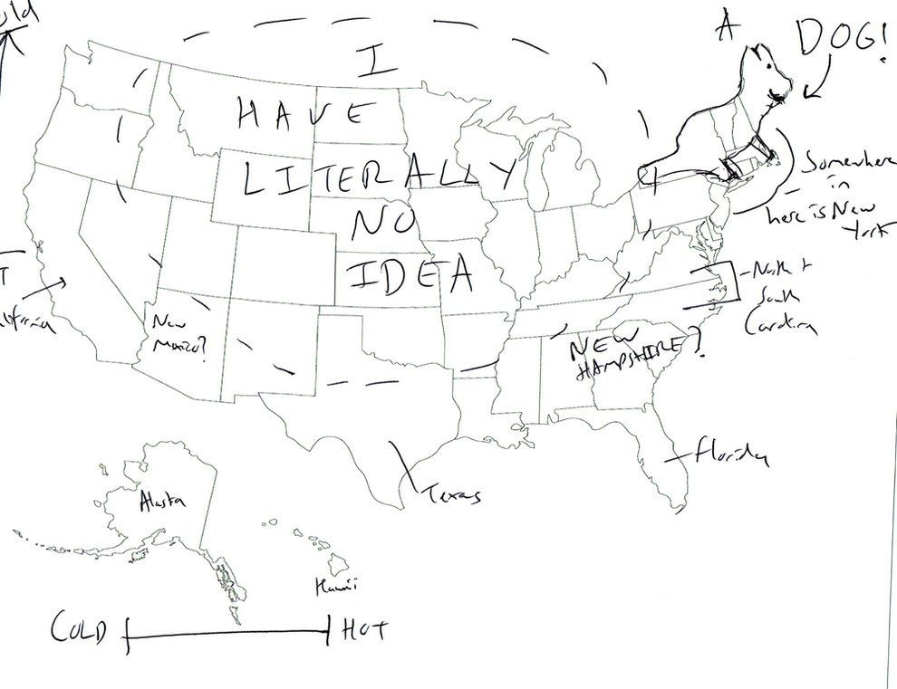 We Asked Brits To Label The United States Again Because Its A - Us map with state labels
