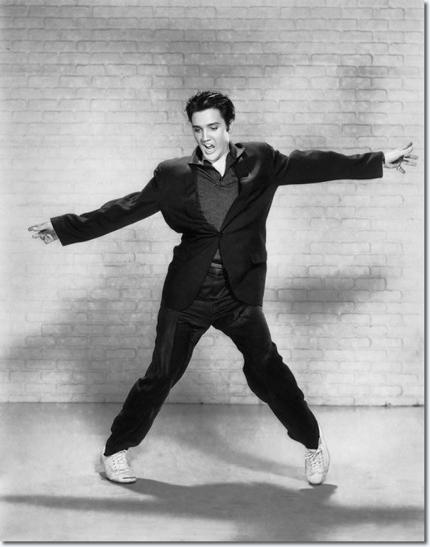 film ; the very move that provoked an entire country to dance ; Elvis Presley Jailhouse Rock Publicity Photo.