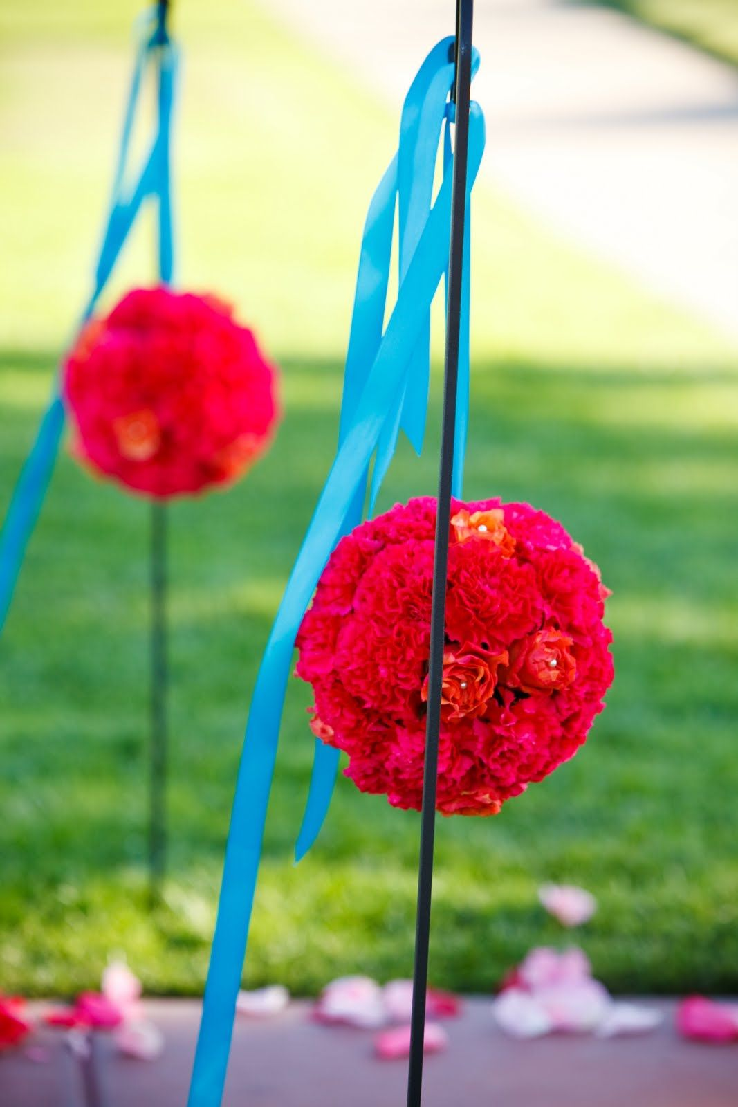 8 coral pomanders - cheapest flowers with taupe ribbon (Alecia to provide)