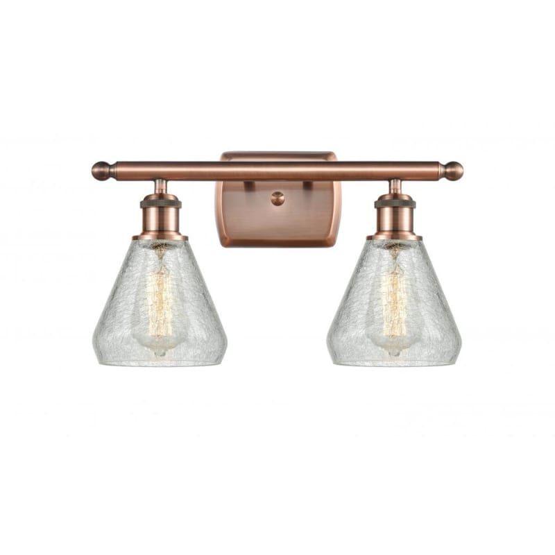 """Photo of Innovations Lighting 516-2W Conesus Conesus 2 Light 16 """"Wide Bathroom Vanity Lig Antique Copper / Clear Crackle Indoor Lighting Bathroom Fixtures"""