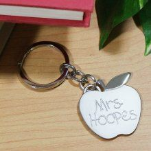 Personalized Silver Apple Teacher Keyring