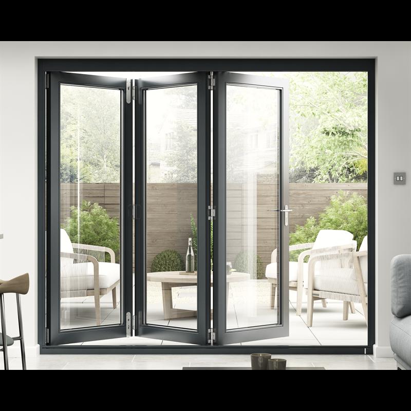 Rohden Slide Fold Door Set 2400mm Grey In 2020 Bifold Doors Sliding Folding Doors Glass Bifold Doors