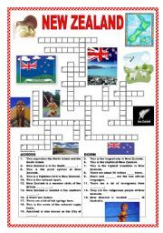 English worksheet New Zealand crossword Ressources