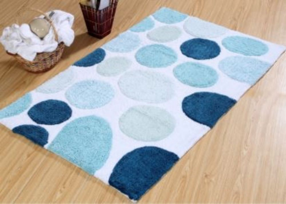 Solid Color Blue Cotton Bath Rug Latex Spray Non Skid Backing 30 X 50 Inches