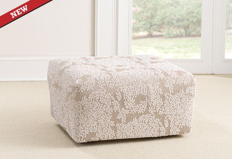 Sure Fit Slipcovers Stretch Forest Ottoman Slipcovers ...