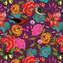 Estampas desenvolvidas pela artista plástica Bebel Franco com exclusividade para o Ateliê Lá na Ladeira. Flores e pássaros para tecidos e papel de parede.