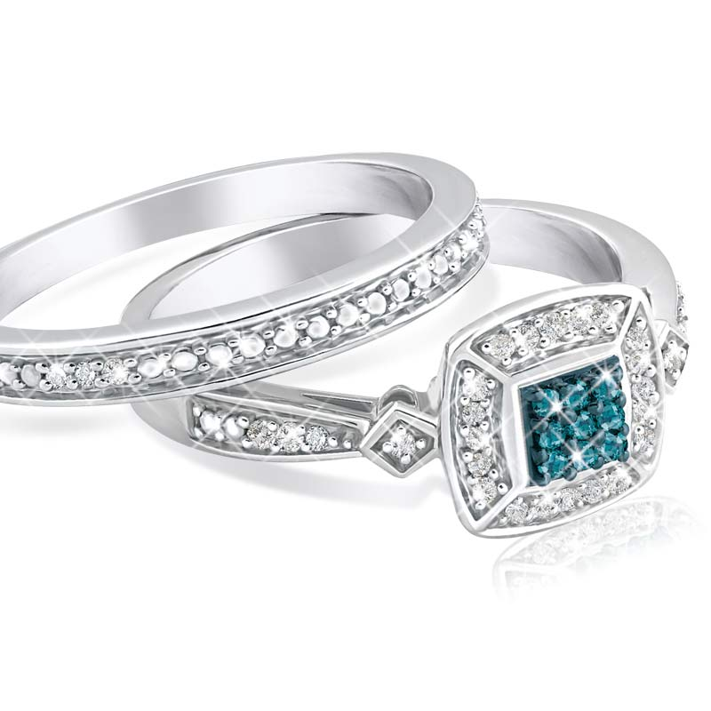 blue diamond bridal set the danbury mint - Blue Diamond Wedding Ring Sets