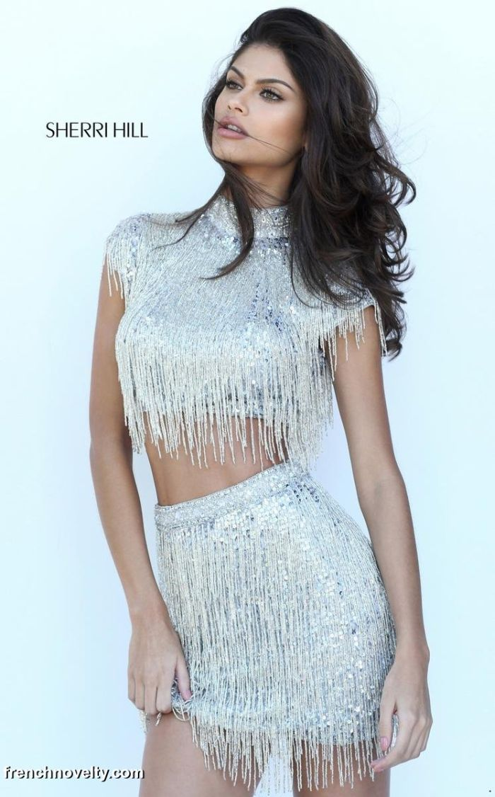 016402f2e1 Sherri Hill 50564 is a short fringed two-piece party dress with a high  neckline.