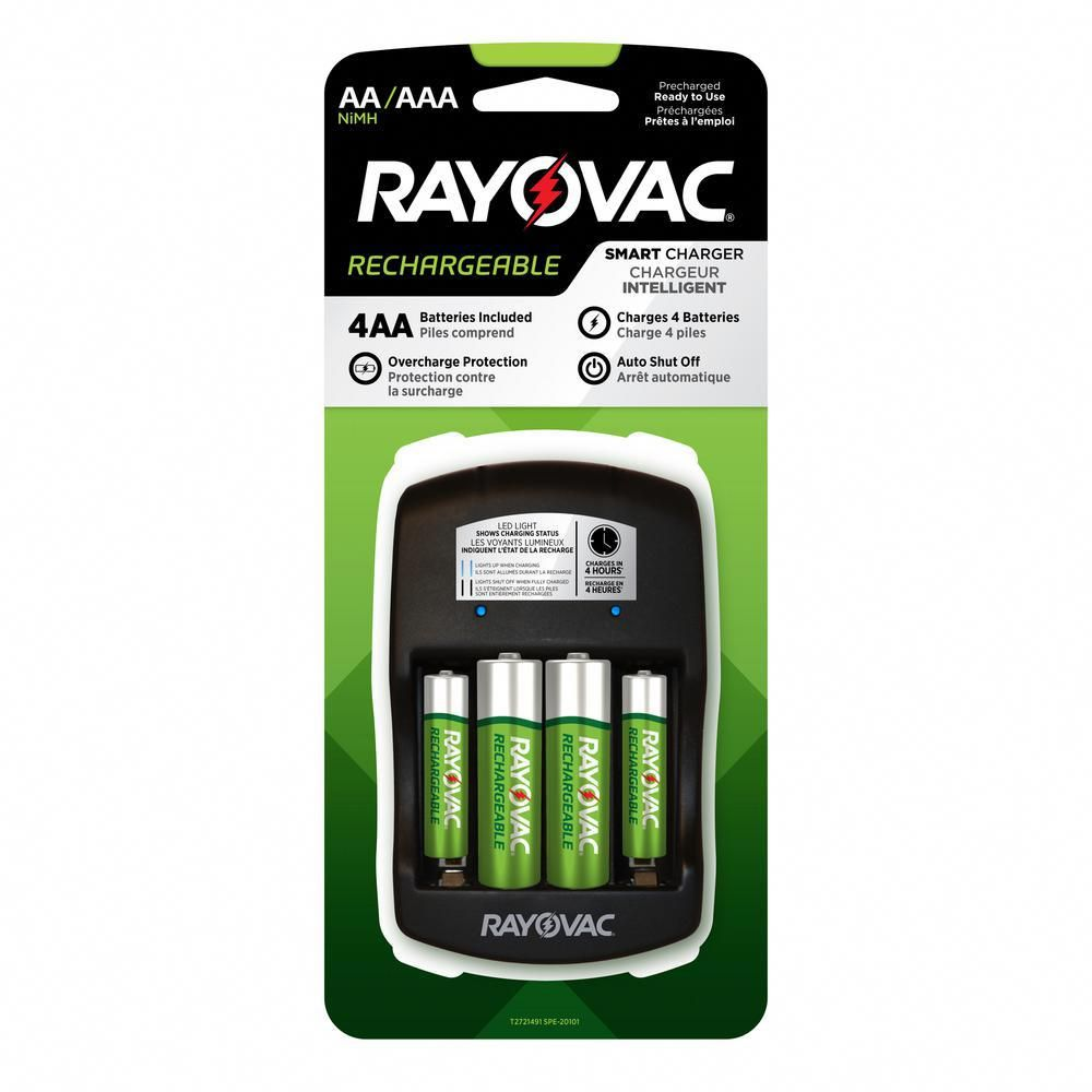 Recharge Plus 4 Position Aa Aaa Smart Charger With Batteries Black And White Smart Charger Aaa Battery Charger Charger