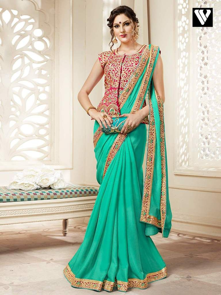 ede6818ccb637 Georgette Function Wear Plain Saree with Lace Border and Heavy Long ...