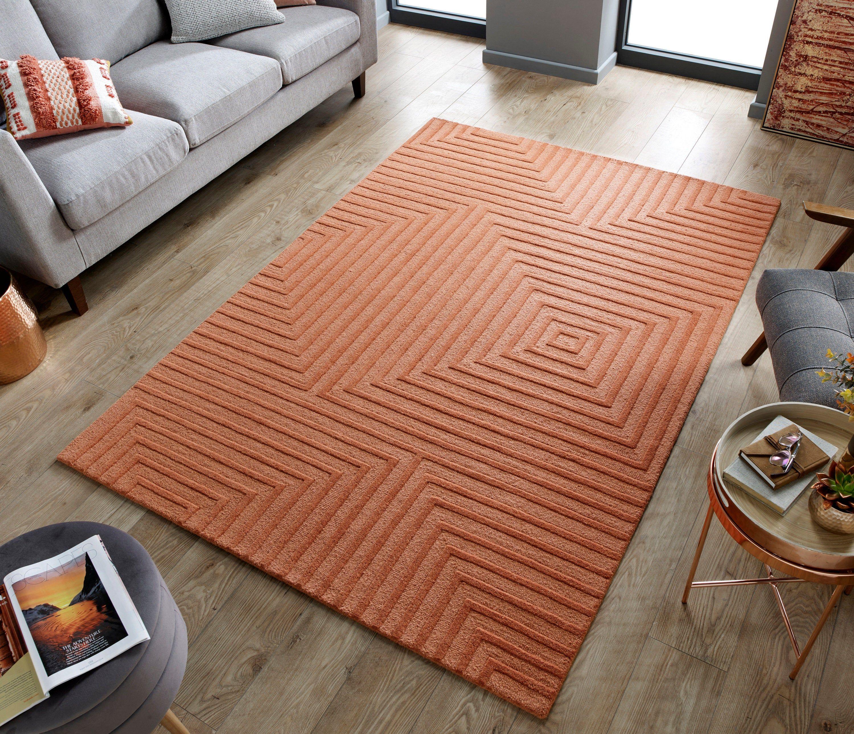 Porto Estela Coral Contemporary Wool Rug Coral Rug Contemporary Wool Rugs Wool Rug