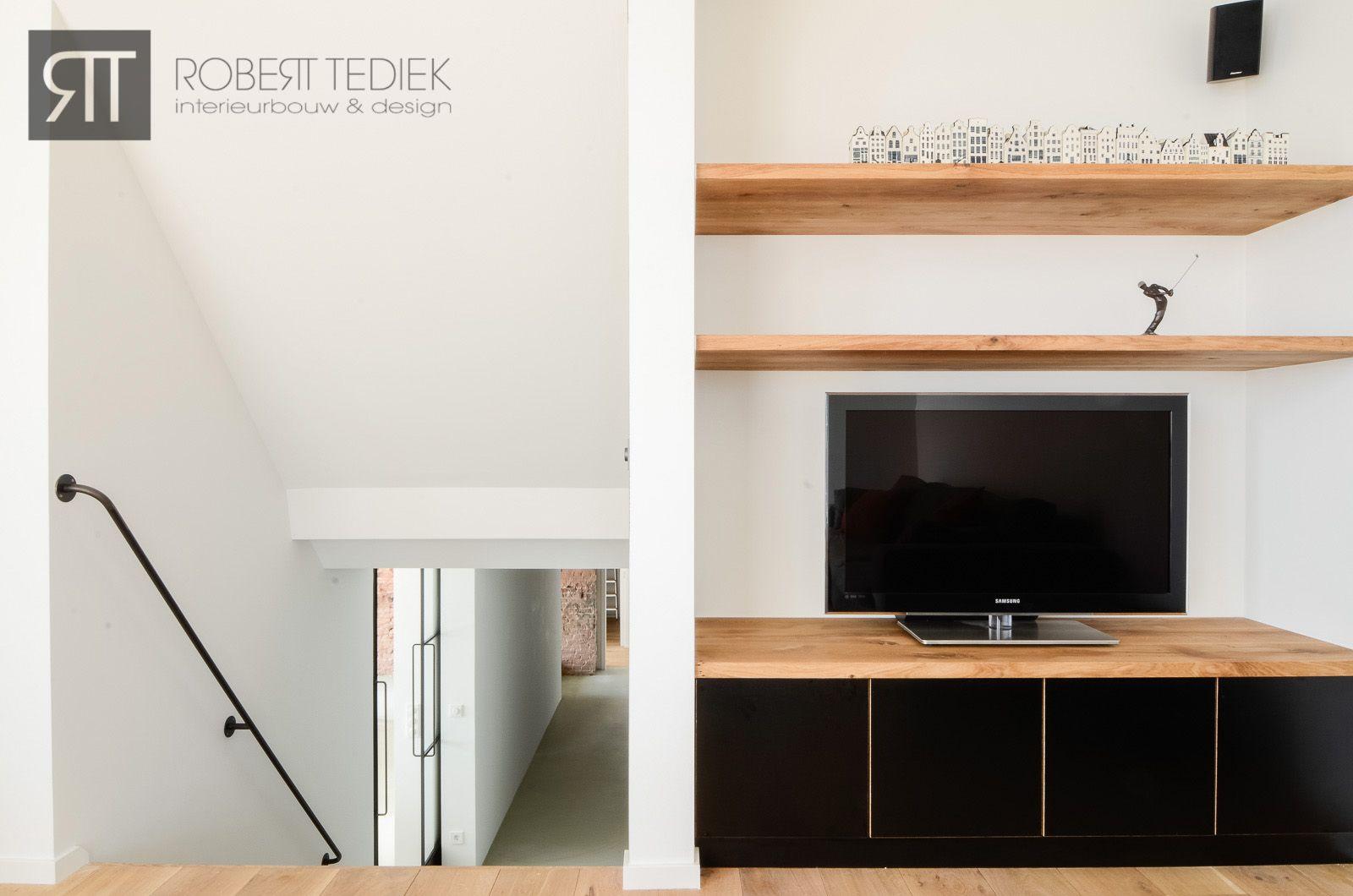 Stoer Tv Meubel Van Zwart Betonplex Met Massief Eiken Legplanken  # Meuble Tv Noir Mat