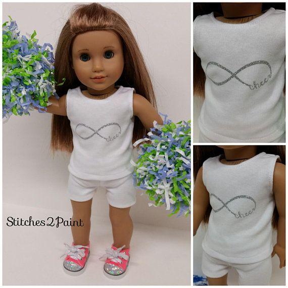 Infinity Cheer Doll Shirt fits American Girl Dolls, Doll Clothes, 18 inch Dolls, Doll Cheer, Glitter, Silver, Tank Top, Cheerleader #18inchcheerleaderclothes