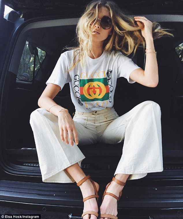 Social media savvy: The comely catwalk star showed off a classy, casual look in this shot she posted from Miami earlier this week