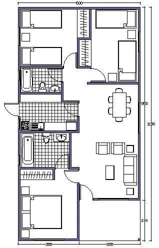 Plano de casa de 63m2 m s pinterest stone houses for Apartment design 70m2