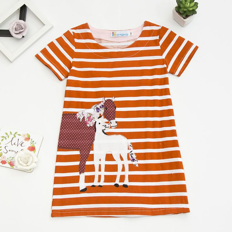 >> Click to Buy <<   Sun Moon Kids Girls Summer Dress 2017 Brand 100% Cotton Animal Striped Girl Clothes Cartoon Robe Fille Tunic Dress Girls #Affiliate