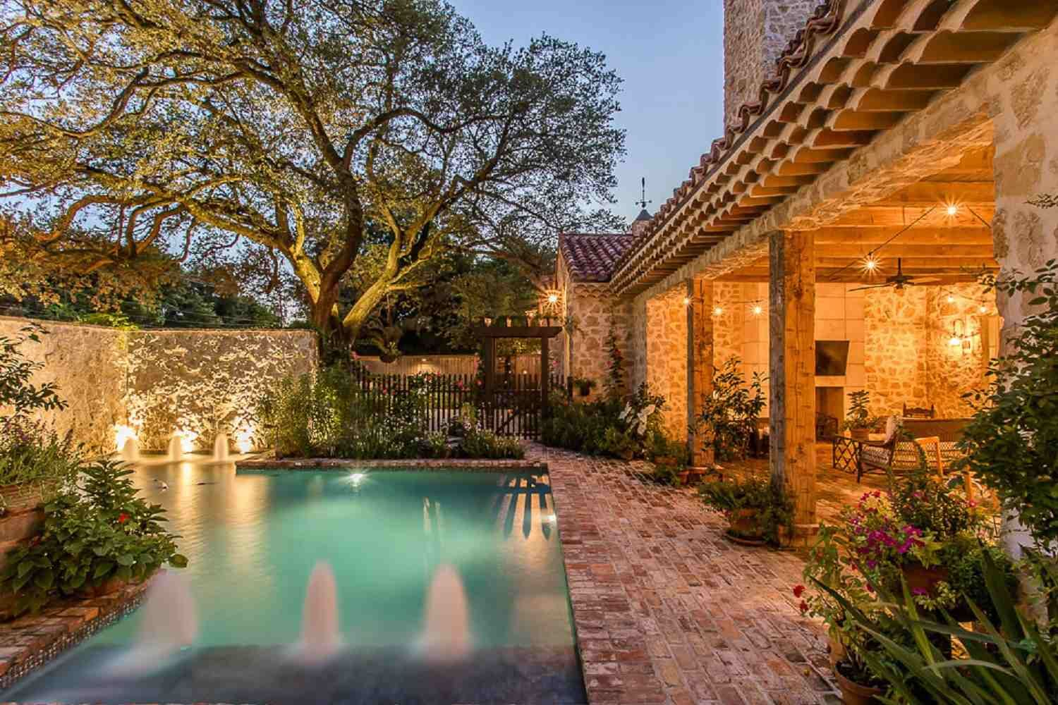 Image result for spanish brick planters swimming pool