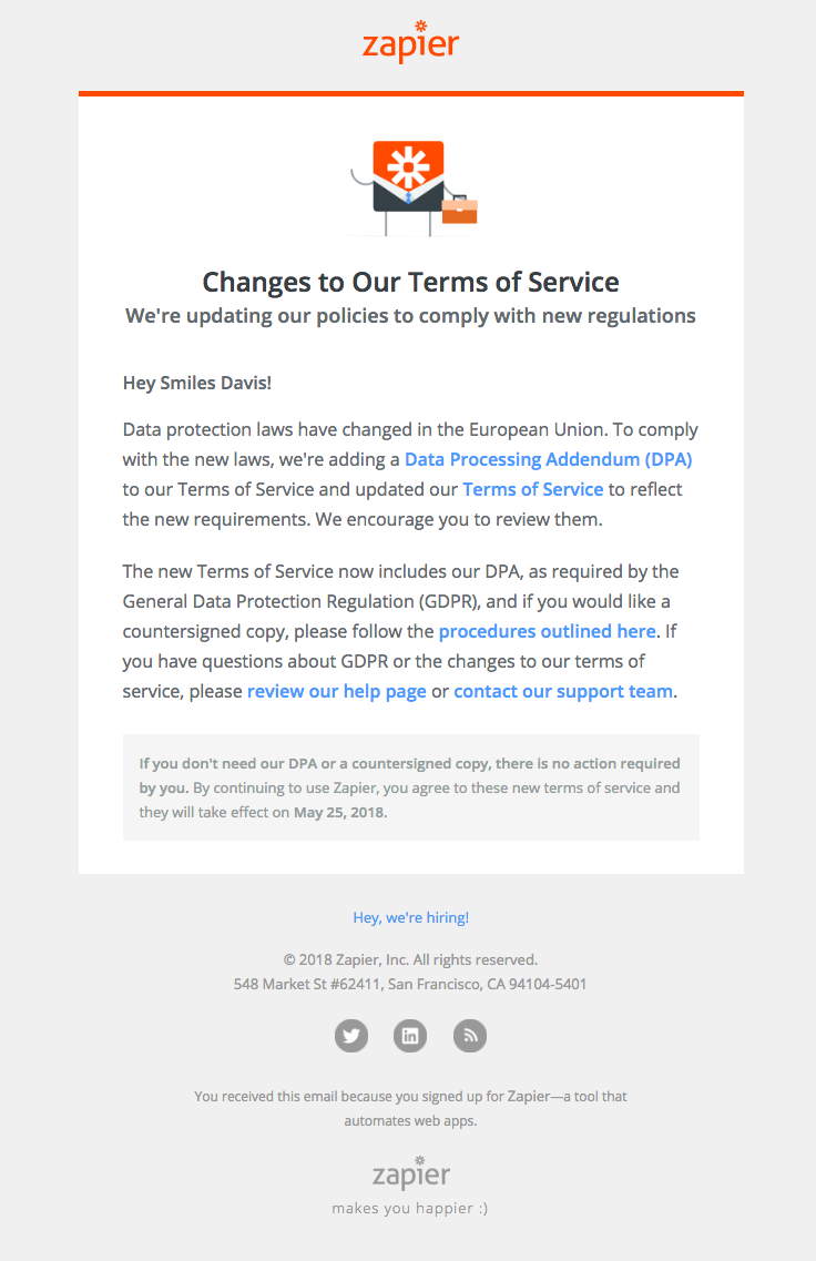Zapier Sent This Email With The Subject Line Changes To Our Terms Of Service Read About This Email A Email Newsletter Template Email Layout Terms Of Service