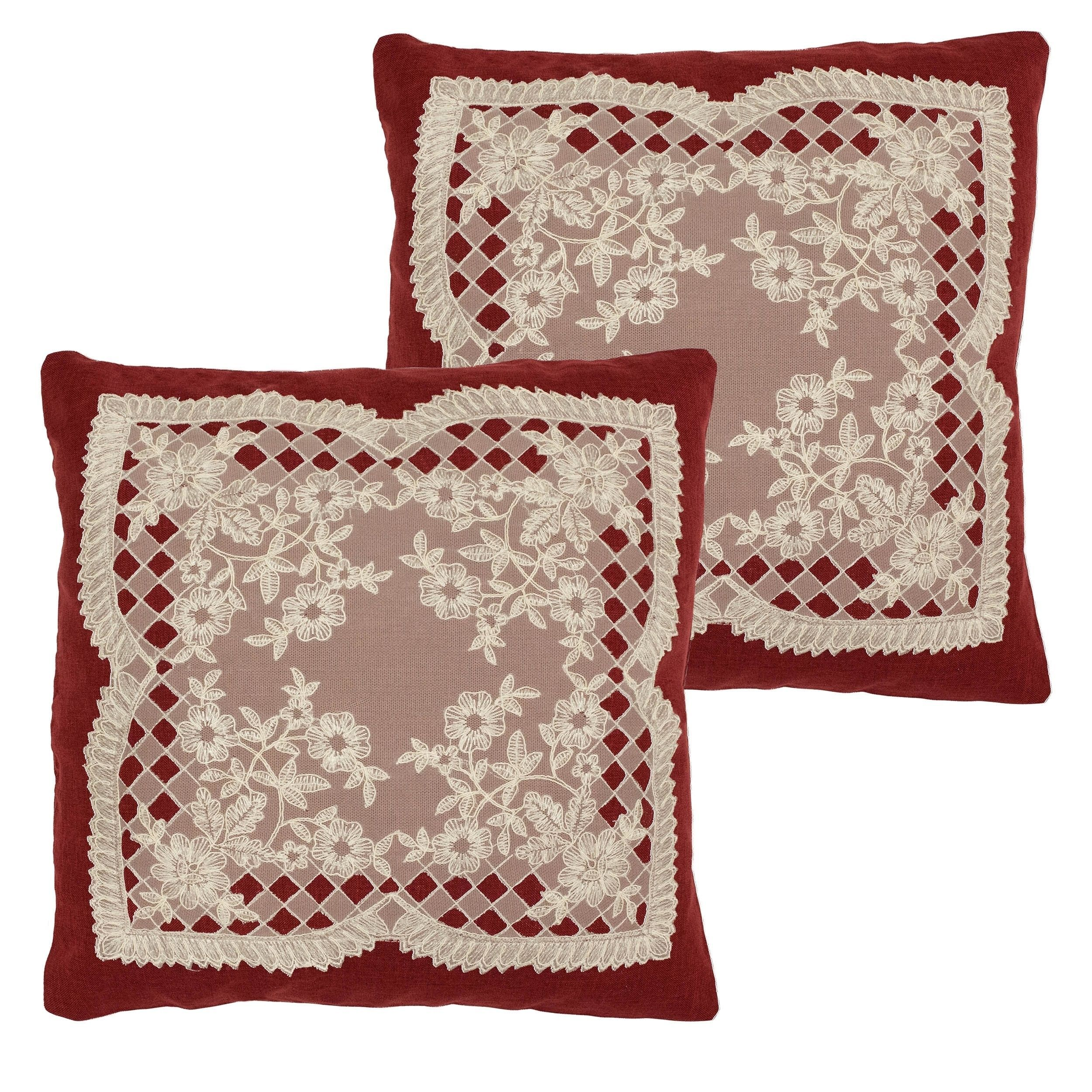 Creative home ideas caisey lace and embroidery applique throw pillow