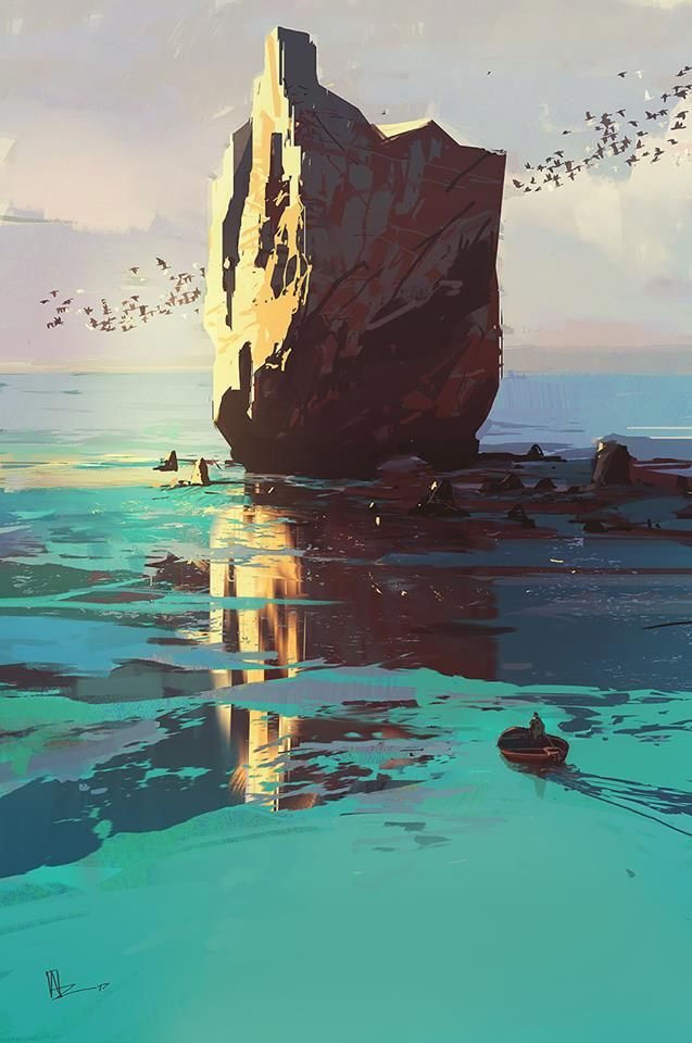 Water Reflection Birds Nature Landscape Unlined Style Like Old National Park Posters Digital Painting Environmental Art Fantasy Landscape