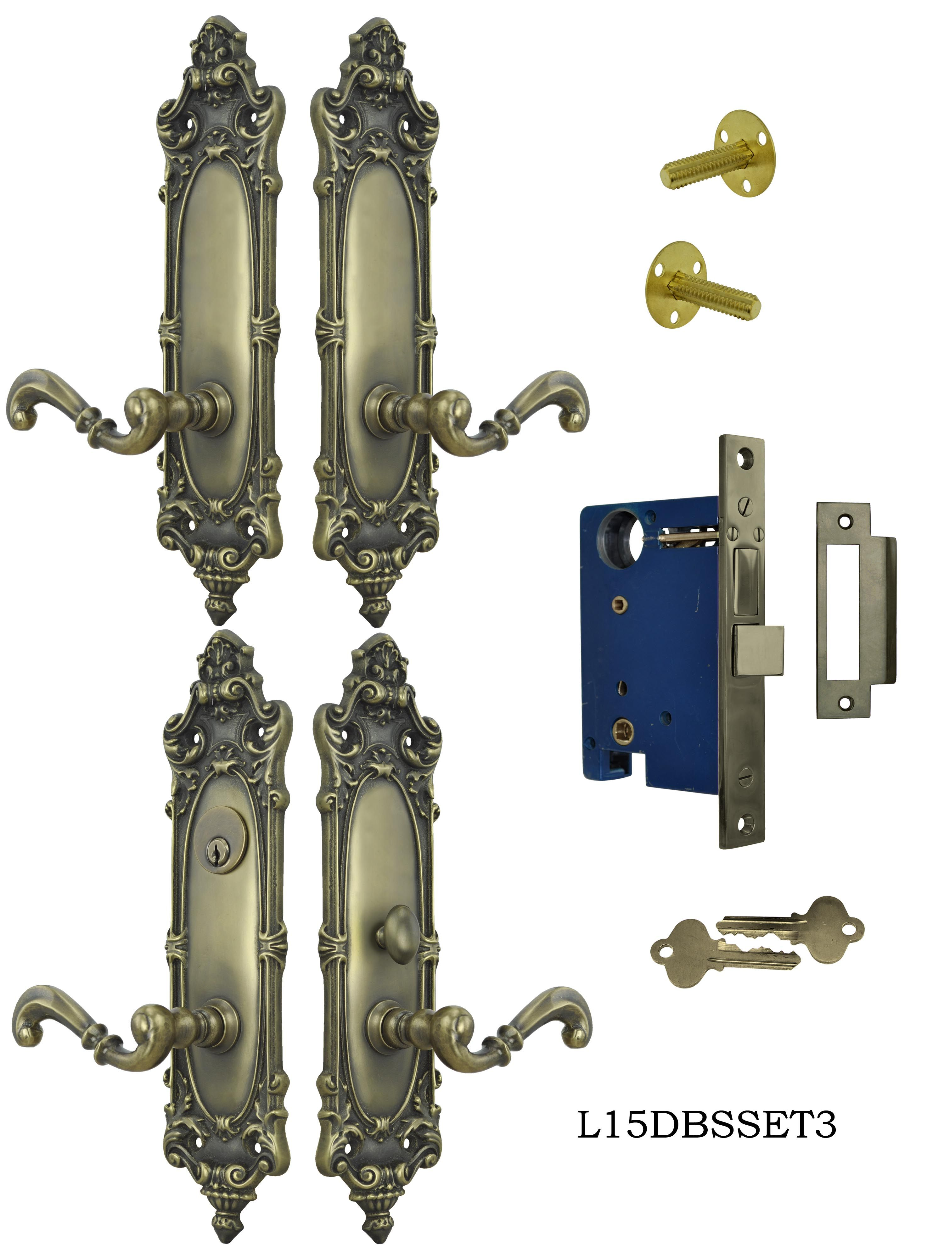 Victorian Double Door Entry Set Rococo Yale Pattern L15dbs3