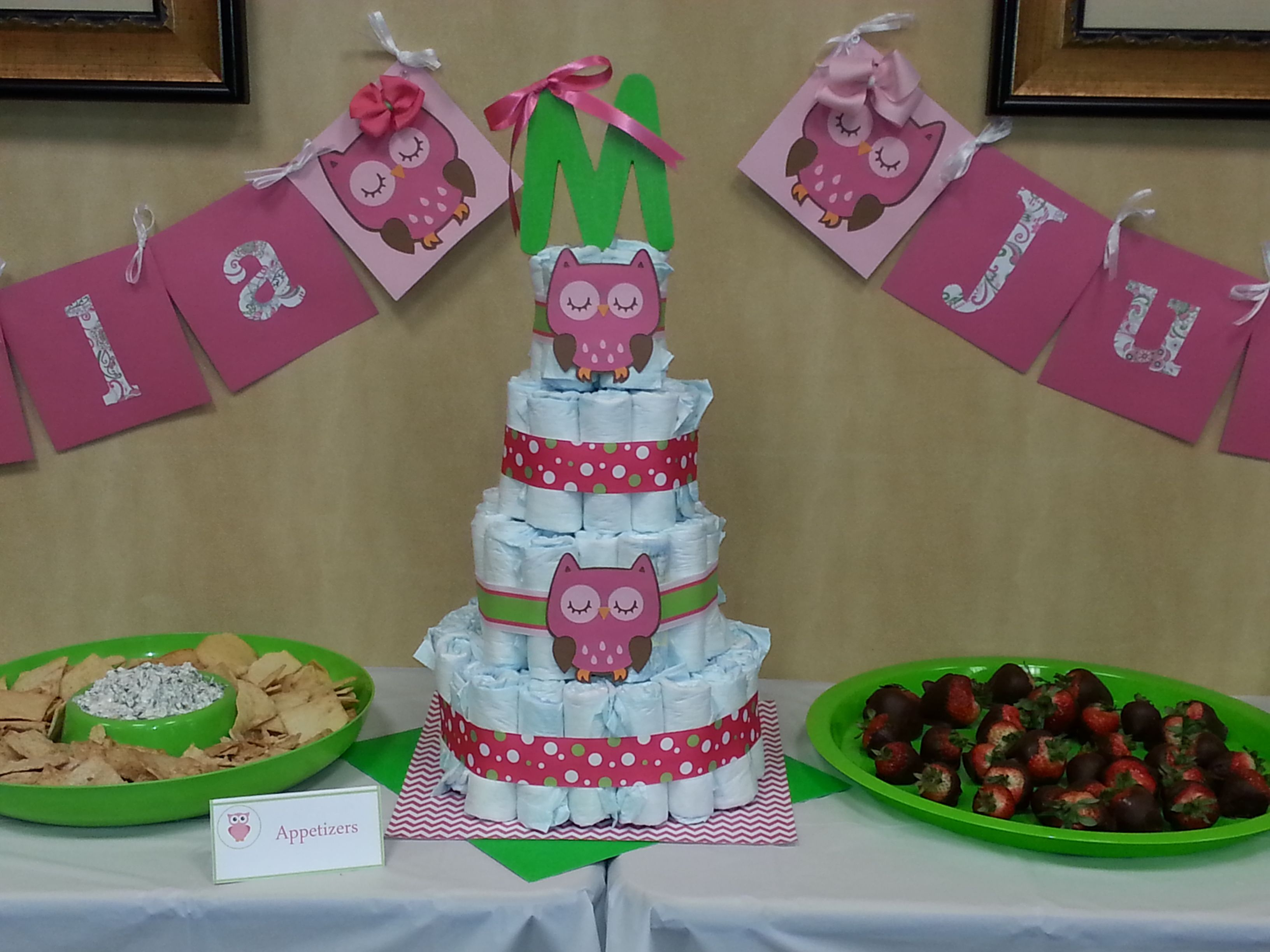 Owl Baby Shower Diaper Cake Table Set up