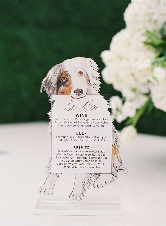 Acrylic Wedding Bar Menu With Illustration Of Couple S Dog Austin Wedding Wedding Inside Wedding Planning Inspiration