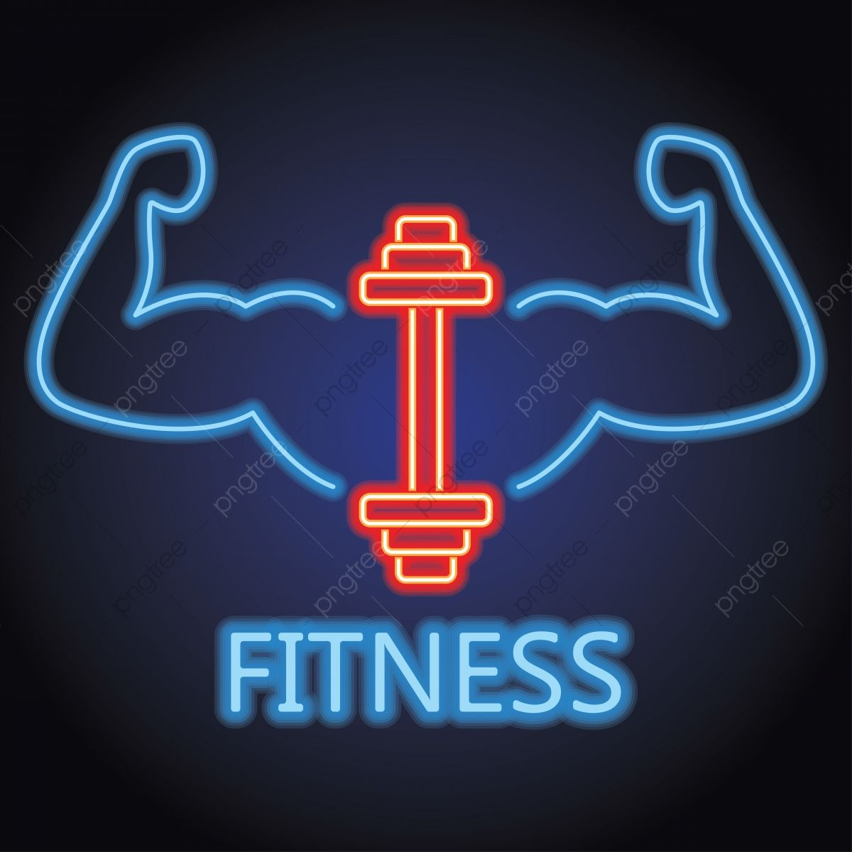Fitness Gym Center Logo With Neon Light Effect Vector