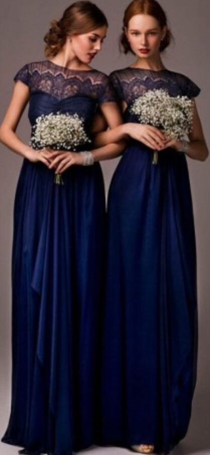 c723b48f683 2015 Navy Blue Bateau Sheer Lace Long Cheap Bridesmaid Dresses Cap Sleeves  Floor Length Evening Dress Prom Gowns Wedding Party Dress