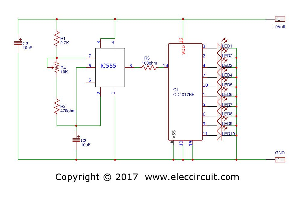 Led Chaser Circuit With Pcb Layout Running Lights Eleccircuit Com Circuit Led Electrical Circuit Diagram