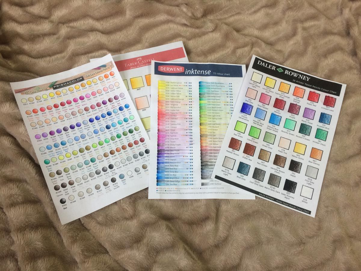 Blank Colour Charts For Prismacolor Premier Derwent Inktense