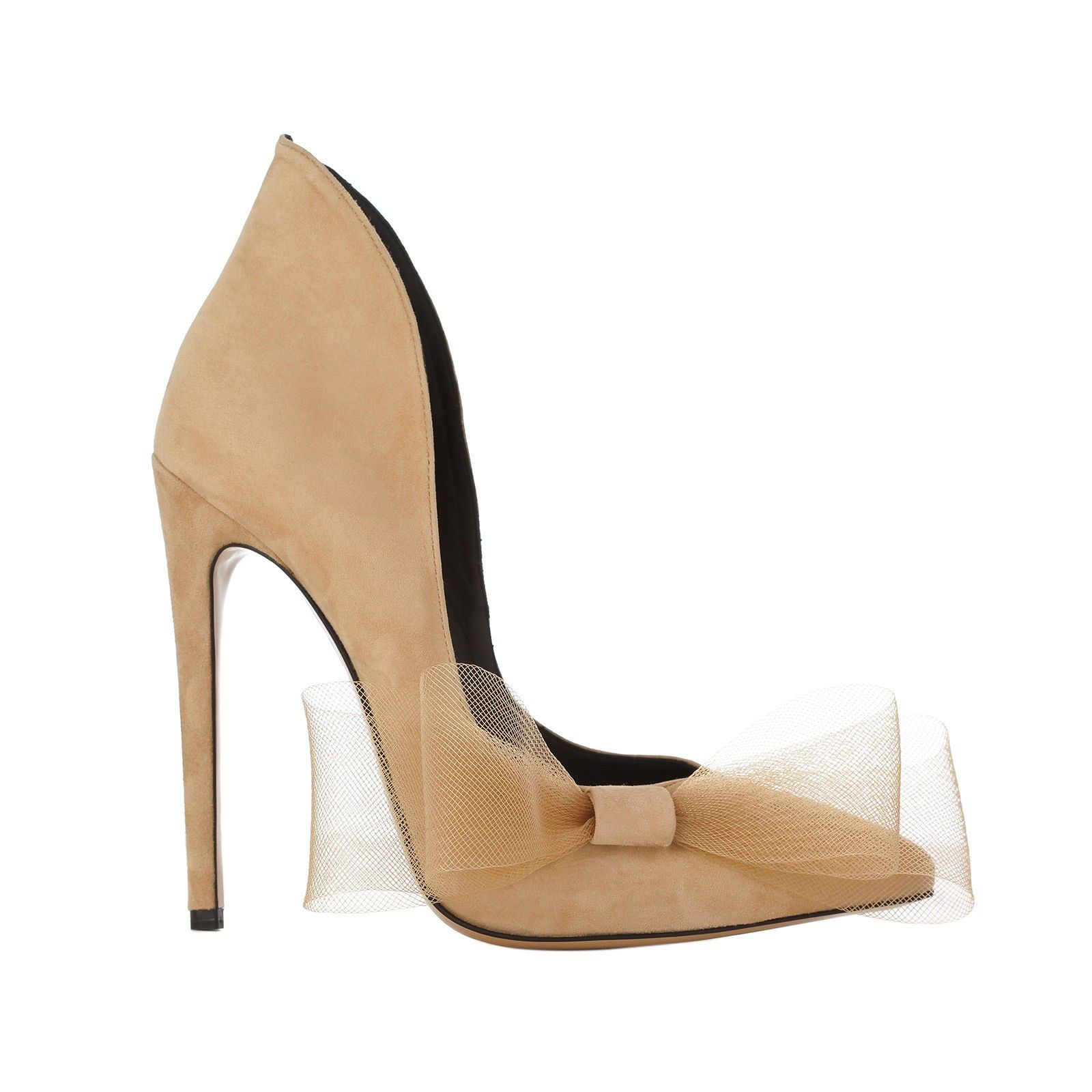 Beige suede pointy toe pumps with side bow heel height 11 5 cm