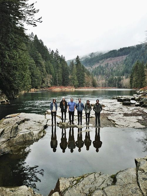 hiking with friends :-) this is a brilliant idea for a photo...you just have to have one person miss out ;'(