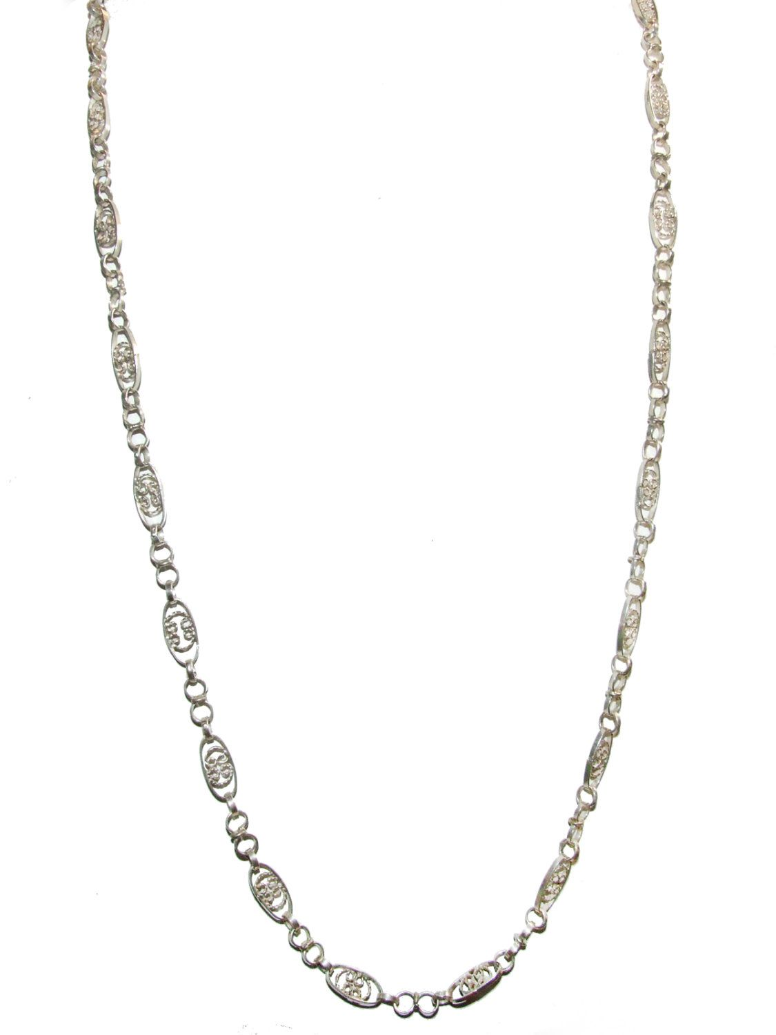 925 Sterling Silver Vintage Mexico Cresent Moon Chain Necklace 17
